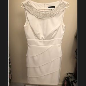 Connected Apparel White Dress w/ Pearl Detail